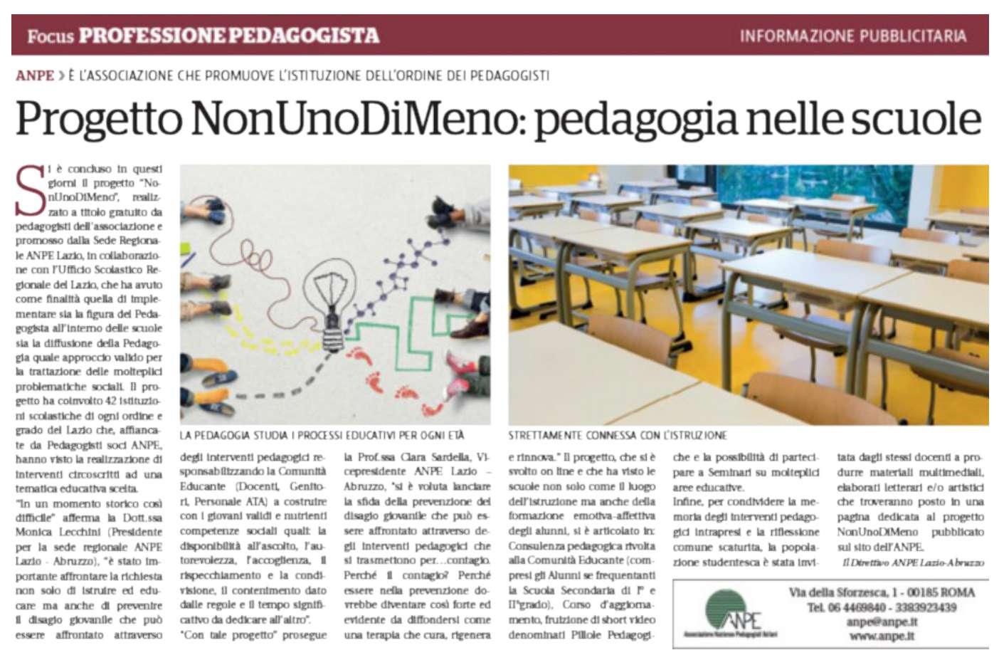 Progetto NonUnoDiMeno: pedagogia nelle scuole